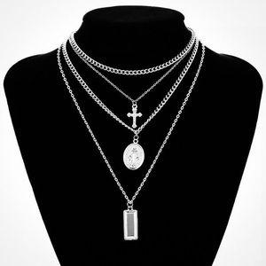 Jesus Cross Multi-Layer Necklace